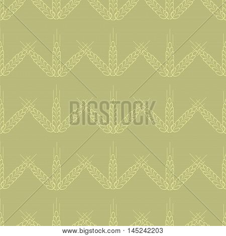 Spica wheat seamless pattern. Vector illustration for organic farming growing food brewery and bakery. Ideal for wallpaper wrapping paper fabric decoration