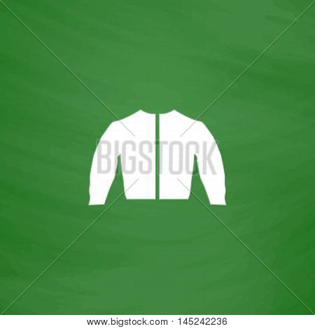 Sports jacket. Flat Icon. Imitation draw with white chalk on green chalkboard. Flat Pictogram and School board background. Vector illustration symbol
