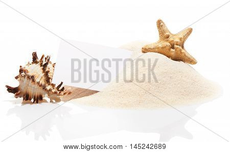 Visit Card With Starfish And Sea Shell On Beach Sand