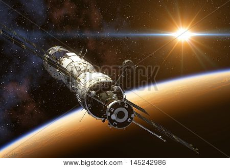 International Space Station On Background Of The Sun. 3D Illustration.