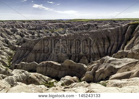Rock Wall in the Badlands of South Dakota