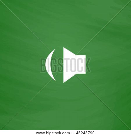 Sound. Flat Icon. Imitation draw with white chalk on green chalkboard. Flat Pictogram and School board background. Vector illustration symbol