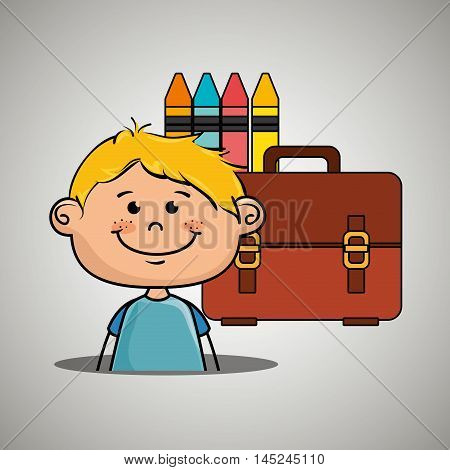 boy student colors school baggage vector illustration eps10 eps 10