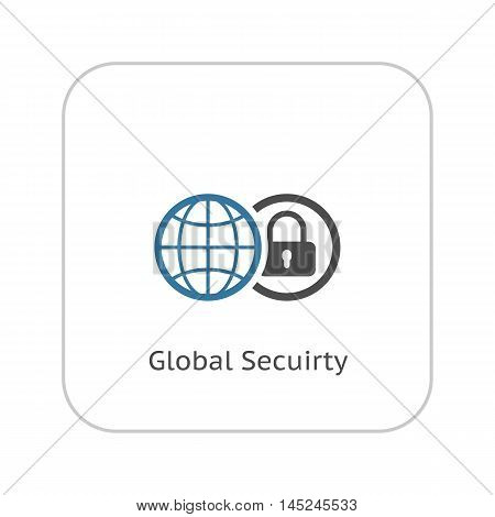 Global Security Icon. Flat Design Isolated Illustration. App Symbol or UI element. Globe with Padlock in Circle.