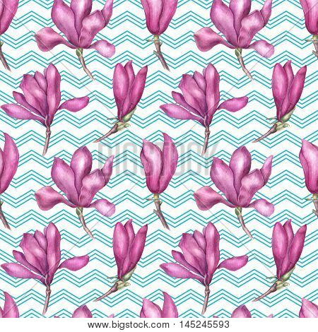 Delicate pink magnolia seamless pattern, watercolor illustration isolated on white and blue geometric background. Soft and feminine magnolia flowers seamless pattern
