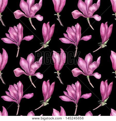 Delicate pink magnolia seamless pattern, watercolor illustration isolated on black background. Soft and feminine magnolia flowers seamless pattern for invitations, cards, banners, textile, decorations