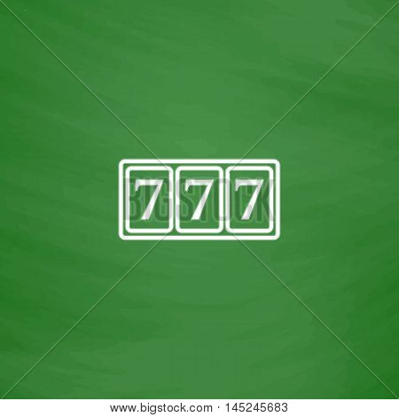 Fortune 777. Flat Icon. Imitation draw with white chalk on green chalkboard. Flat Pictogram and School board background. Vector illustration symbol