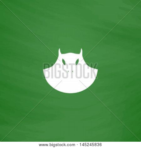 Executioner evil face mask. Flat Icon. Imitation draw with white chalk on green chalkboard. Flat Pictogram and School board background. Vector illustration symbol