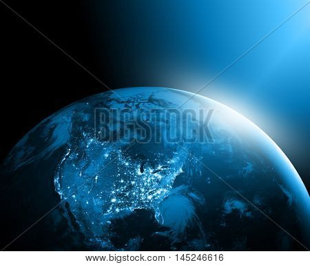 World map on a technological background. America. Best Internet Concept of global business. Elements of this image furnished by NASA