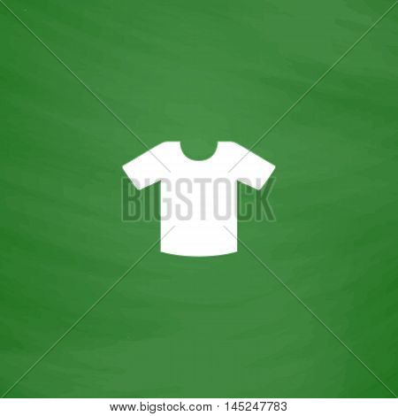 Tee-shirt design template. Flat Icon. Imitation draw with white chalk on green chalkboard. Flat Pictogram and School board background. Vector illustration symbol