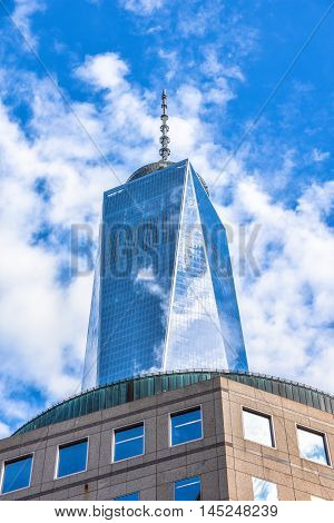 New York City, USA - December 28, 2015: One World Trade Center also known as The Freedom Tower in downtown Manhattan. Is the tallest building in the Western Hemisphere and the third-tallest building in the world.
