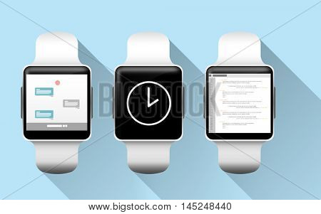 modern technology, object and media concept - close up of smart watches with applications on screen over blue background