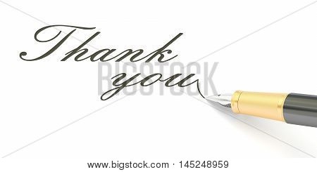 Thank you text and fountain pen 3D rendering