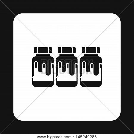 Three jars with gouache icon in simple style on a white background