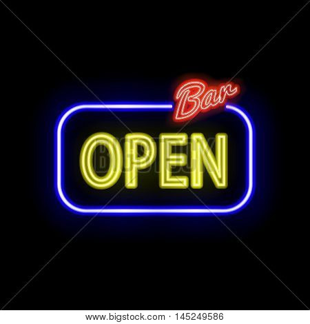 Vector neon sign with type  Bar Open. Red and blue neon lights.