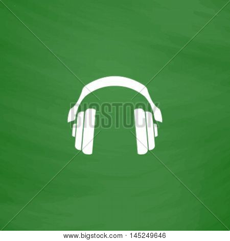 Retro headphone. Flat Icon. Imitation draw with white chalk on green chalkboard. Flat Pictogram and School board background. Vector illustration symbol