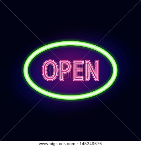 Vector neon sign with type  Open. Red and blue neon lights.