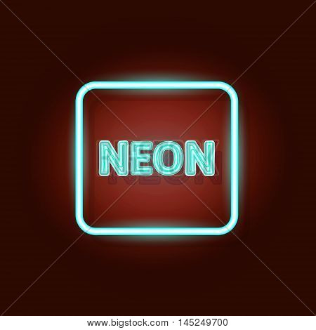 Vector neon frame with type  Neon. Blue neon lights.