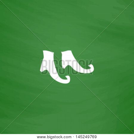 Witch boots. Flat Icon. Imitation draw with white chalk on green chalkboard. Flat Pictogram and School board background. Vector illustration symbol