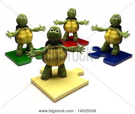 3D Render de un tortugas en pedazos del rompecabezas