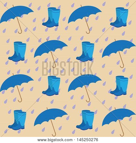 seamless pattern on the background of the rain drops umbrellas and rubber boots