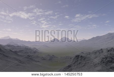 3d generated landscape as background: The lonely mountains