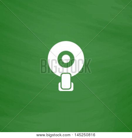 Web camera. Flat Icon. Imitation draw with white chalk on green chalkboard. Flat Pictogram and School board background. Vector illustration symbol