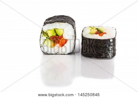 Japanese rolls with nori avocado and salmon in Moscow.