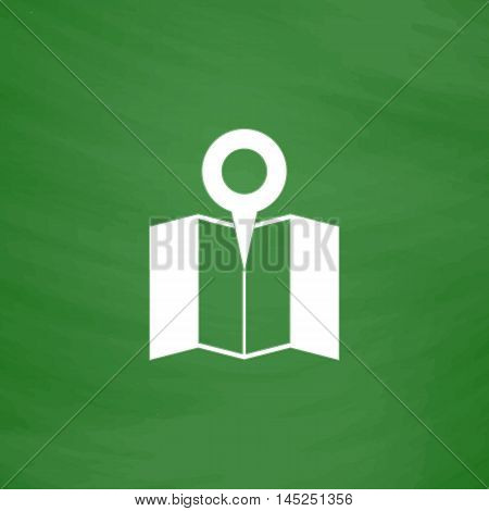 Simple Pin on the map. Flat Icon. Imitation draw with white chalk on green chalkboard. Flat Pictogram and School board background. Vector illustration symbol