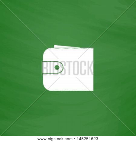 Simple wallet. Flat Icon. Imitation draw with white chalk on green chalkboard. Flat Pictogram and School board background. Vector illustration symbol