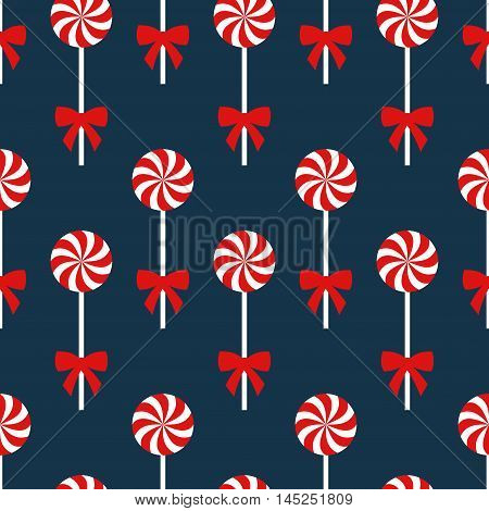 Seamless Christmas pattern with lollipops. Happy New Year and Merry Xmas background. Vector winter holidays print for textile, wallpaper, fabric, wallpaper.