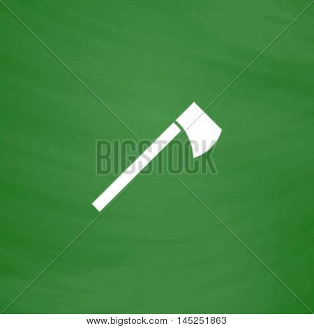 Tomahawk. Flat Icon. Imitation draw with white chalk on green chalkboard. Flat Pictogram and School board background. Vector illustration symbol