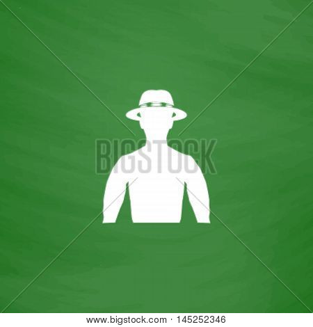 Man with broad-brim. Flat Icon. Imitation draw with white chalk on green chalkboard. Flat Pictogram and School board background. Vector illustration symbol