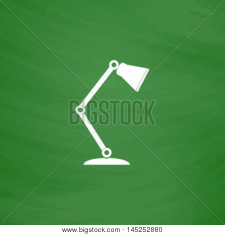 Reading-lamp. Flat Icon. Imitation draw with white chalk on green chalkboard. Flat Pictogram and School board background. Vector illustration symbol