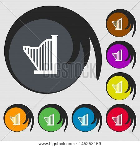 Harp Icon Sign. Symbols On Eight Colored Buttons. Vector