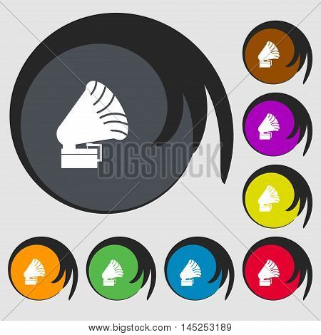 Gramophone Icon Sign. Symbols On Eight Colored Buttons. Vector