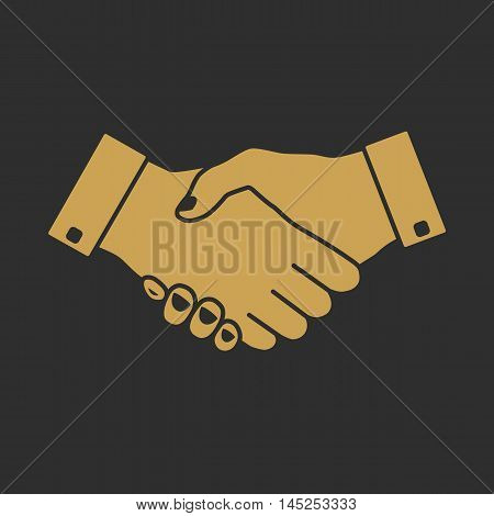 Handshake icon with gold fill on dark background. Hand gesture used as a greeting. In business used for the deal or agreement to become binding.