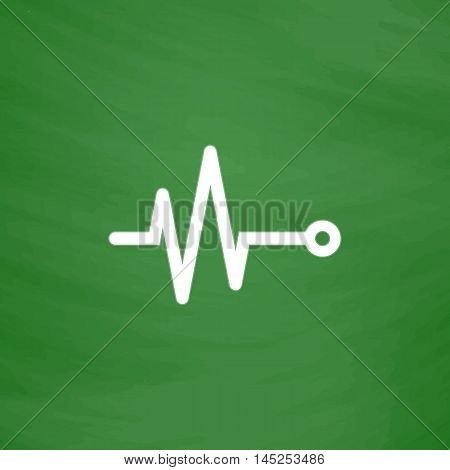 Life line - Heart beat, cardiogram. Flat Icon. Imitation draw with white chalk on green chalkboard. Flat Pictogram and School board background. Vector illustration symbol