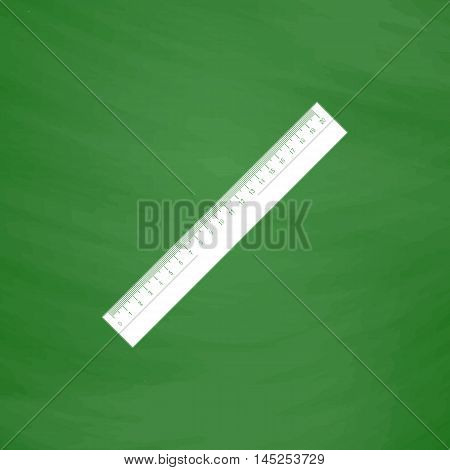 Straightedge. Flat Icon. Imitation draw with white chalk on green chalkboard. Flat Pictogram and School board background. Vector illustration symbol