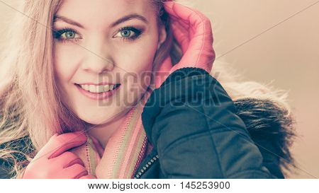 Portrait Of Pretty Smiling Woman In Jacket.
