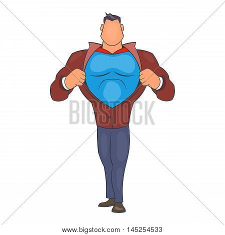 Superhero tearing his shirt icon in cartoon style isolated on white background