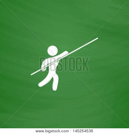 Pole vault athlete. Flat Icon. Imitation draw with white chalk on green chalkboard. Flat Pictogram and School board background. Vector illustration symbol