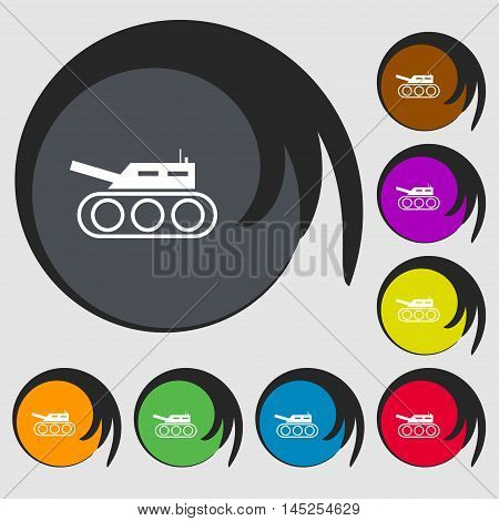 Tank, War, Army Icon Sign. Symbols On Eight Colored Buttons. Vector