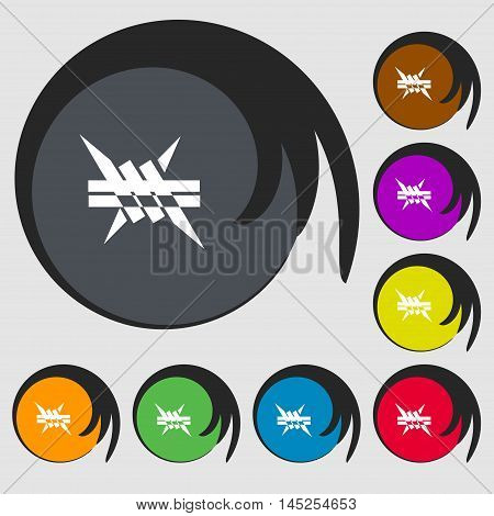 Barbed Wire Icon. Sign. Symbols On Eight Colored Buttons. Vector
