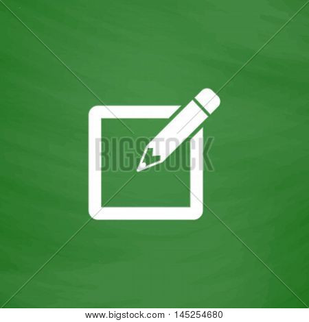 Subscribe. Flat Icon. Imitation draw with white chalk on green chalkboard. Flat Pictogram and School board background. Vector illustration symbol