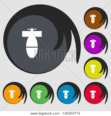 Mortar Mine Icon Sign. Symbols On Eight Colored Buttons. Vector