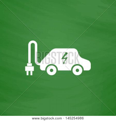 Electric car. Flat Icon. Imitation draw with white chalk on green chalkboard. Flat Pictogram and School board background. Vector illustration symbol