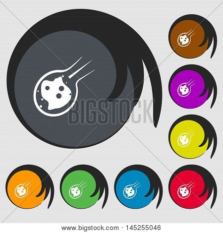 Flame Meteorite Icon Sign. Symbols On Eight Colored Buttons. Vector