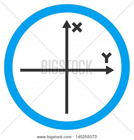 Cartesian Axis vector bicolor rounded icon. Image style is a flat icon symbol inside a circle, blue and gray colors, white background.