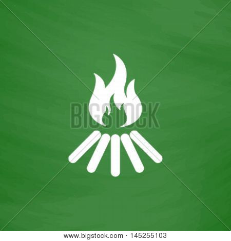 Bonfire vector. Flat Icon. Imitation draw with white chalk on green chalkboard. Flat Pictogram and School board background. Vector illustration symbol